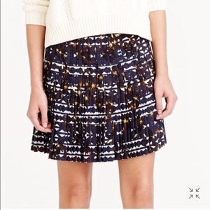 J Crew Pleated Lattice Skirt in Hidden Floral